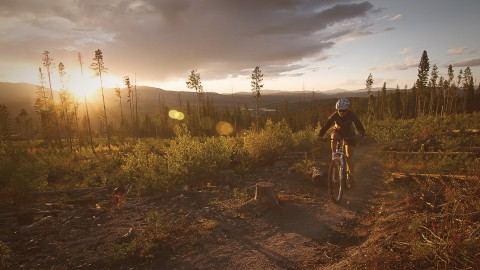 Mountain Biking while the sun sets