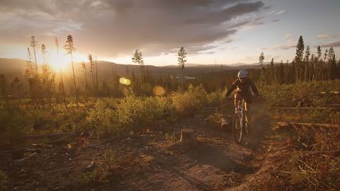 Mountain Biking while the sun sets